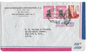 Haiti Airmail Cover 1956 Port au Prince Duplex H Cancel to US Sc# 408 C99