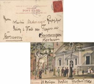 Gibraltar 1d KEVII 1905 Gibraltar PPC (Church Street) to Oberammergau, Germany.