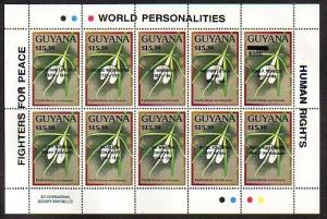 Guyana, Scott cat. 2362. Orchids sheet of 10 o/printed World Personalities.