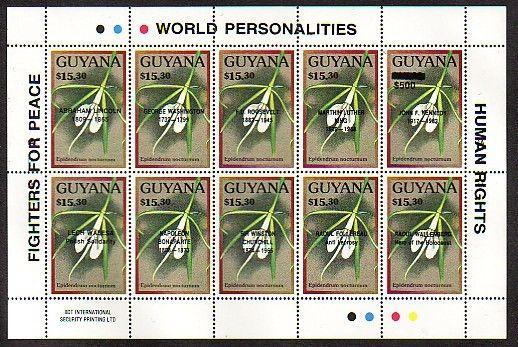 Guyana, Scott cat. 2362. Orchids sheet of 10 o/printed World Personalities.