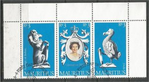 MAURITIUS, 1978, CTO Sheet of 3, Elizabeth II Coronation Scott 464