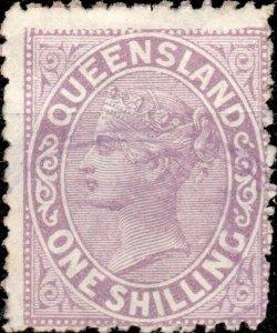 AUSTRALIA / QUEENSLAND 1883 - SG172 1sh lilac - Fine / Very Fine Used