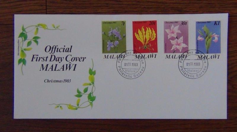 Malawi 1983 Christmas Flowers set on First Day Cover