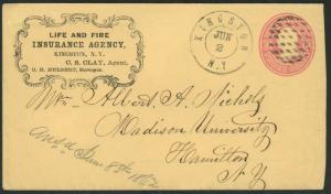 Insurance Advertising - Civil War Era - Life & Fire Ins Agency 1862 NY  S2108