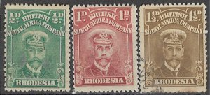 COLLECTION LOT OF #1772 RHODESIA # 119-21 MH/USED 1913+