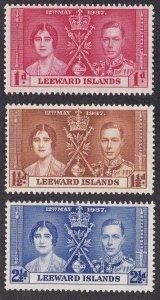 Leeward Islands # 100-102, 1937 Coronation, NH, 1/2 Cat.