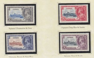 CYPRUS, 1935 Silver Jubilee set of 4, heavy hinged
