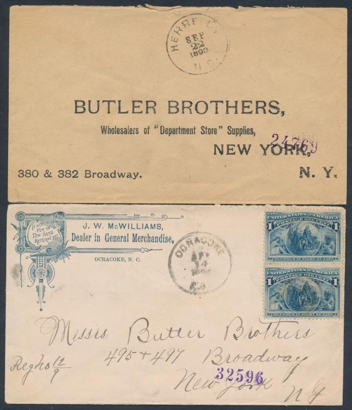 #230 (2) DIFF COVERS GOING TO NEW YORK 1893 WITH FANCY CANCELS BT5526