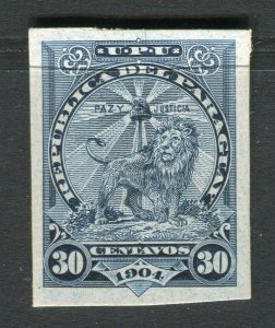 PARAGUAY; 1904 early Lion type fine PROOF/TRIAL on thick card. 30c. value