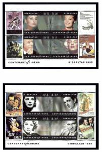 Gibraltar 696-97 MNH 1995 Movie Stars souvenir sheets