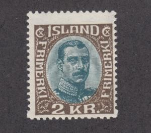 Iceland Sc 127 MLH. 1920 2kr King Christian X, fresh & bright, F-VF