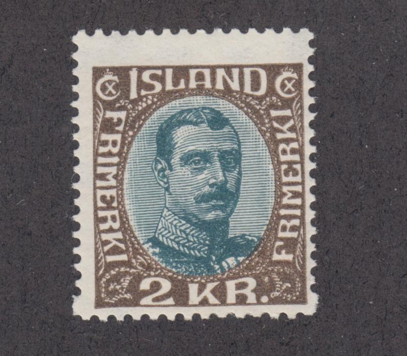 Iceland Sc 127 MLH. 1920 2kr King Christian X, fresh & bright, F-VF