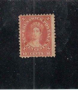 NEW BRUNSWICK (MK5331)  # 9  FVF-MH  10cts QUEEN VICTORIA /1860 /VERM  CV $55