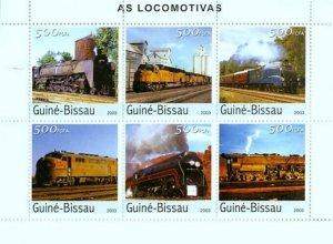 Guinea-Bissau MNH S/S Locomotives!!!!! 2003 6 Stamps