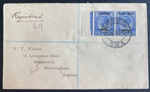 1924 Windhoek South West Africa Registered  Cover To Birmingham England