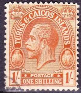 TURKS & CAICOS ISLANDS 1922 1/- Brown-Orange SG172 FU