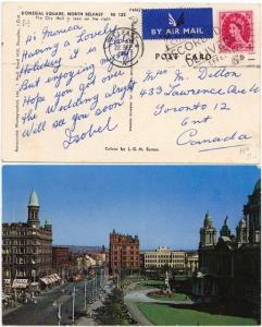 Northern Ireland to Canada - 1964 View Card w BELFAST slogan