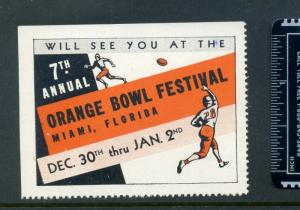 VINTAGE 7TH ANNUAL ORANGE BOWL CELEBRATION POSTER STAMP (L936) MIAMI FLORIDA