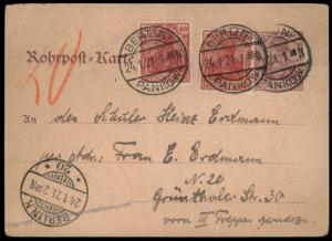 Germany 1921 Inflation Berlin Rohrpost Pneumatic Mail Cover Germania 82617