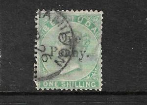 BERMUDA 1875  1d on 1/- GREEN  QV  FU  SG 17