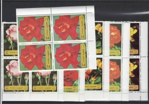 Fujeira Species of Roses Mint Never Hinged Stamps Blocks Ref 27804