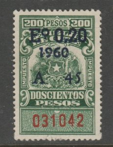 Chili 200 Peso Cinderella revenue fiscal stamp 5-23-41 @