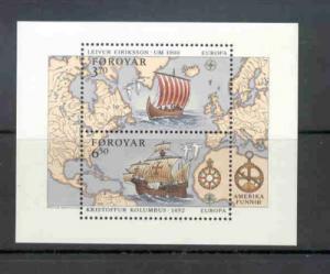 Faroe Islands Sc 238 1992 Europa Columbus Eriksson stamp sheet mint NH