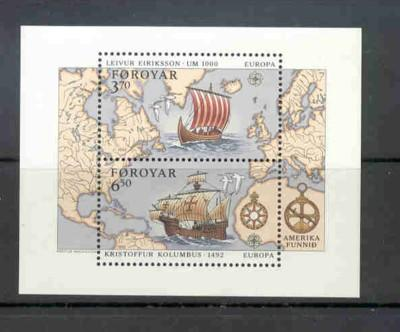 Faroe Islands Sc 238 1992 Europa Eriksson Columbus stamp sheet  mint NH