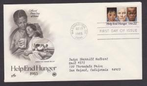 2164 Help End Hunger ArtCraft FDC with neatly typewritten address