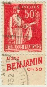 FRANCE - 1933 pub LISEZ BENJAMIN sur Yv.283 50c Paix t.I (A3)