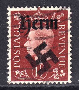 GREAT BRITAIN 1-1/2p HERM OVERPRINT USED VF SOUND