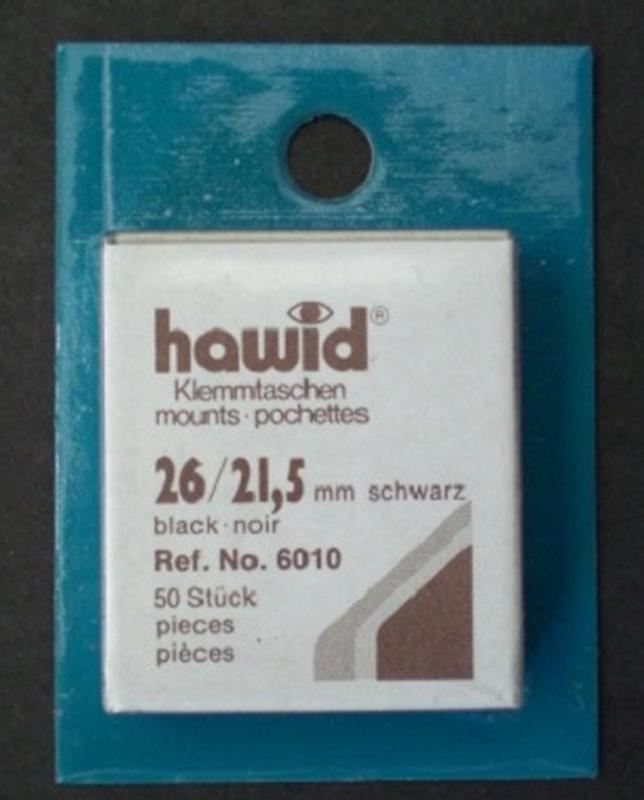 Hawid Stamp Mounts Size 26/22 (21.5) BLACK Pack of 50