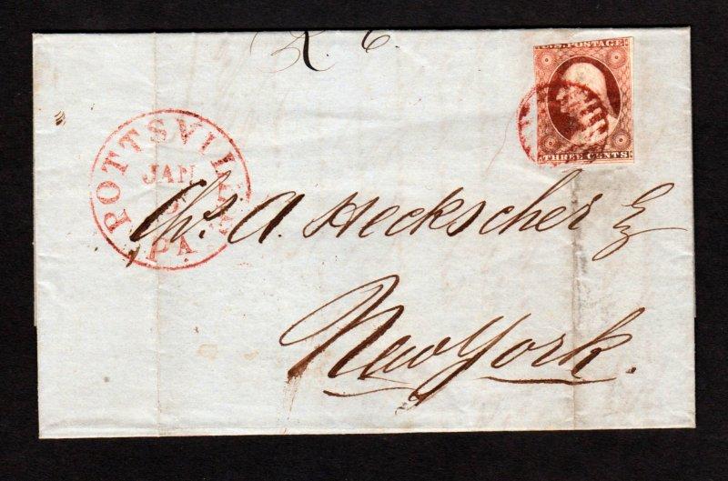 Scott #10 on Letter/envelope  Pottsville,Pa to NY Jan,9 1852  Interesting conten
