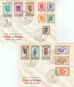 Ivory Coast Scott 171-179, J19-J23 Unaddressed.