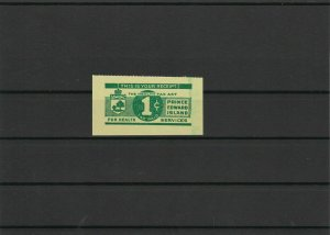 Prince Edward Island Tobacco Tax Stamp 1942 1 Cent ref 22692