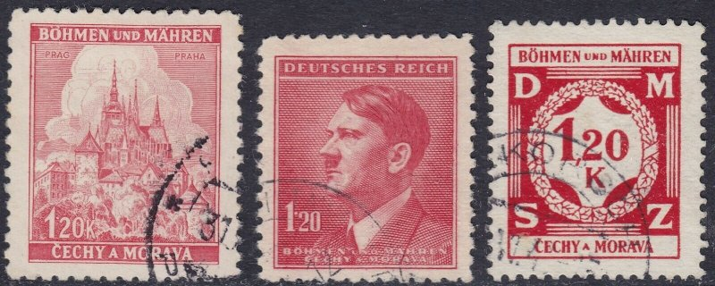 Stamp Selection Germany Bohemia Czechoslovakia WWII 3rd Reich AH 120pf Used