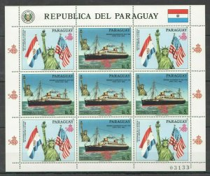 EC139 1986 PARAGUAY TRANSPORT SHIPS STATUE OF LIBERTY USA MICHEL 25 EURO 1KB MNH