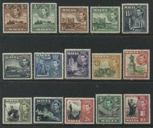 Malta KGVI 1938-43 various values to 10/ mint o.g. hinged
