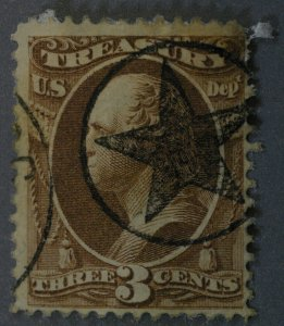 United States #O74 3 Cent Treasury Revenue Fancy Star In Circle Cancel Used