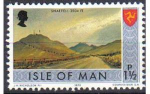 ISLE OF MAN, 1973, MNH 1½p. Snaefell, Scott 14 CV 0.20