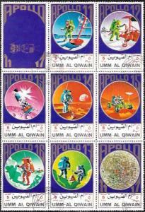 Ajman 1972  Set of 8 stamps - Apollo 11 - 17. Astronauts, Lunar, Rover