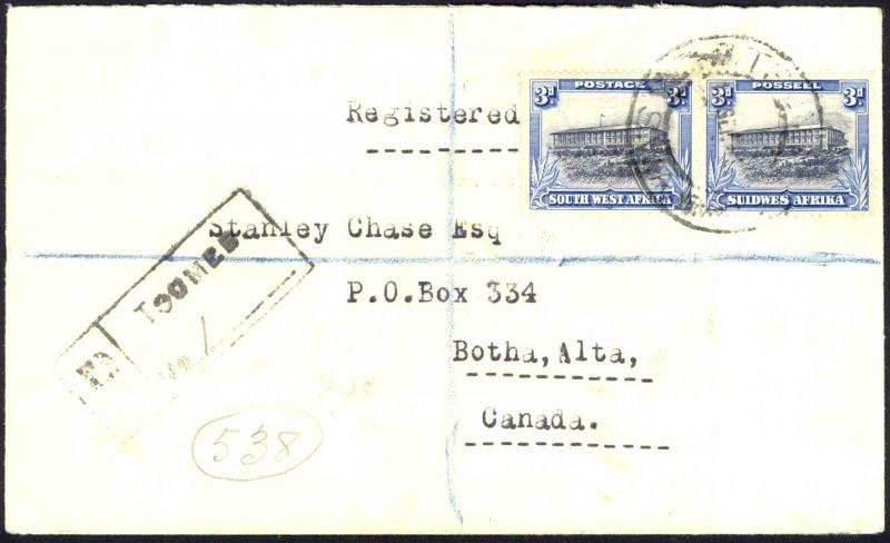 South West Africa Sc# 112 Used on cover (Registered w/seal) 1932 Windhoek