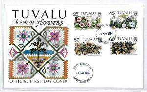 Tuvalu FDC Floral Cover BEACH FLOWERS {samwells-covers}1984 CS325