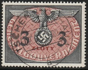 Stamp Germany Poland General Gov't Official Mi 14 Sc NO14 1940 WW2 Dienst Used