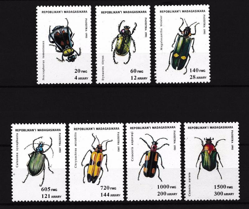 [38782] Madagascar 1994 Insects Insekten Insectes Beetles MNH
