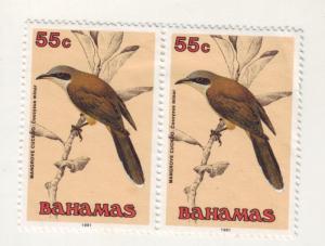 J4449 JLstamps @20%scv 1991 bahamas mh pair #718 cuckoo