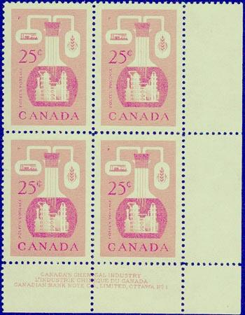 Canada #363 Plate 1 MS - VF-NH 1956 25c Chemical Ind.