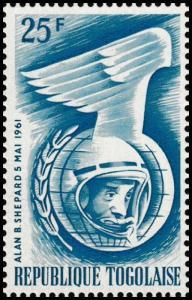Togo Space Exploration Alan B Shepard 25F single (1 stamp) MNH 1961