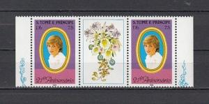 St.Thomas, Scott cat. 656. Lady Diana`s Gutter Pair. Orchid in Label.