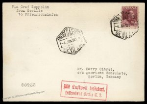 Spain Germany 1930 Graf Zeppelin Barcelona Berlin Si58G Flown Cover 97071